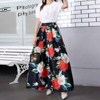 Maxi dress floral flared vintage long skirt women new pleated skater boho