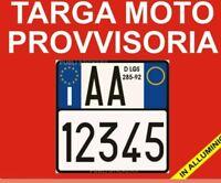 """TARGA MOTO PROVVISORIA IN ALLUMINIO PERSONALIZZABILE """"D.LGS 285/92"""" RICAMBI"""