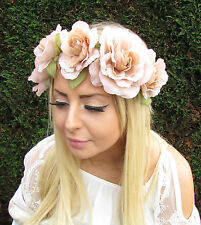 Large Nude Rose Flower Garland Headband Hair Crown Festival Boho Brown Band 1687