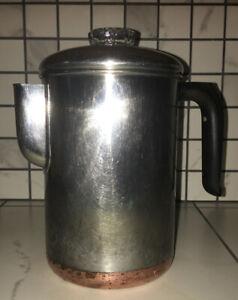 Vintage Revere Ware Coffee Pot 6 Cup Percolator Stove Top Copper Clad Steel