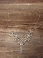 Navajo Indian Sterling Silver Turquoise Coral Dreamcatcher Necklace by Arviso...