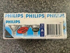 3x Philips Halogen 50w 12 Volt 36 GU5.3 Dichroic MR16 1000h