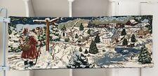 Christmas Tapestry Table Runner Blue White Black Red Santa Sleigh Village Church