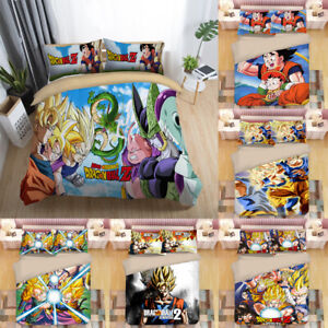 3PCS Dragon Ball Z Bedding Set Quilt Duvet Cover Pillowcases Comforter Cover Set