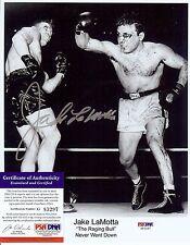 Boxer Jake LaMotta autographed bloody Photo Bonus photo of signing PSA DNA  **