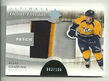 2011-12 Ultimate Collection Debut Threads Patch # 3 of 100 BLAKE GEOFFRION