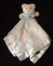 Bearington Bear Blue Blanket Baby Satin Rattle Curly Fur Letters A-B-C Soother