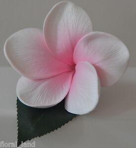 6x BULK WEDDING FLOWER LATEX FRANGIPANI WHITE PINK GROOM BUTTON HOLE FLOWERS