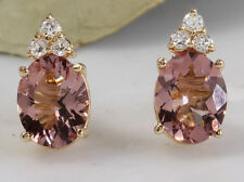 2.90ct Natural Morganite and Diamond 14K Solid Yellow Gold Earrings