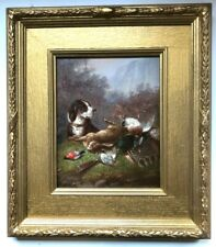 Fine Antique Original Oil On Panel Hunting Shooting Scene