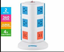 10 Outlet Safemore Surge Protector 3-Level PowerBoard 4 USB ports  - Blue/Orange