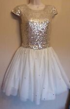 Topshop Dress Up UK10 EU38 US6 new cream sequin/bead dress with tulle skirt