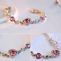 Fashion Romantic Bangle Charm Bracelet Love Words Heart Women Crystal Jewellery