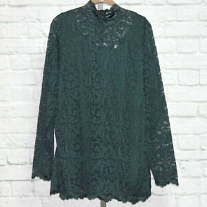 Stretch Scroll Lace Mock Neck Tunic Sz XL (Dark Emerald) Isaac Mizrahi Live!