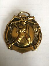 1900's Antique Baseball Watch Fob Crossed Bats W/ Glove, Large Batter On Ball