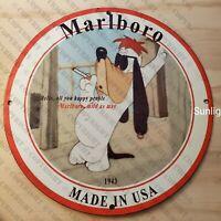 VINTAGE PORCELAIN 1943 MARLBORO OIL GAS AMERICANA MAN CAVE GARAGE RARE USA SIGN
