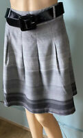 Womens Soft Pleat Stripe Lined Short Skirt Uk Size 12 Grey With Black Belt New