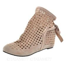 Beige Sandals Slip on Spring Summer BOOTIES Womens Hollow Flats BOOTS Sz UK 8