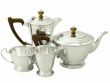 Antique George VI, Sterling Silver Four Piece Tea and Coffee Set - Art Deco