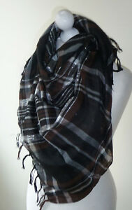 Brown Black Large Square Check Scarf Sparkly Silver Lurex Thread Wrap Tassels