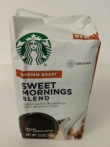 Starbucks Sweet Mornings Blend Medium Roast Ground Coffee 6-12oz. 1-7-2020 Bbd