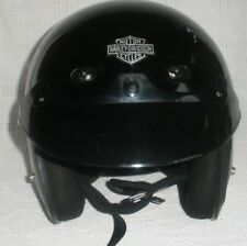 VTG. Authentic Harley Davidson Large 3/4 Gloss Black Helmet W / Sun Shield DOT