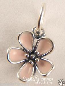 CHERRY BLOSSOM Authentic PANDORA Silver PINK ENAMEL FLOWER Pendant/Charm NEW