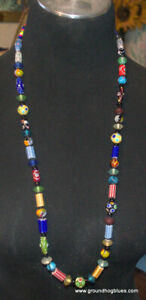"""Artist Made Long 34"""" Colorful Lampworked Beads Necklace Art to Wear"""