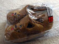 Ragg Karamel Corn boys brown fuzzy puppy slippers toddler size 9 rubber soles
