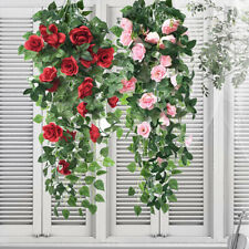 Artificial Fake Hanging Rose Flowers Vine Plant Home Garden Decor Indoor Outdoor