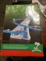 Peanuts Snoopy Snow Day Automatic Sled Run Toy NEW OPEN BOX +BONUS BOOK