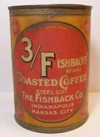 Old Vintage 1920s FISHBACK COFFEE TIN GRAPHIC TALL ONE 1 POUND CAN KANSAS CITY