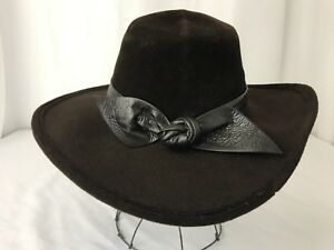 Vtg Frank Olive Hat Brown Western Cowgirl Safari English Riding Country Velour