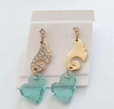 Earring fine gold zirconium wing angel heart crystal synthetic green E48