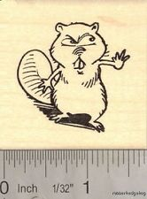 Angry Beaver Rubber Stamp Mascot  H14410 WM