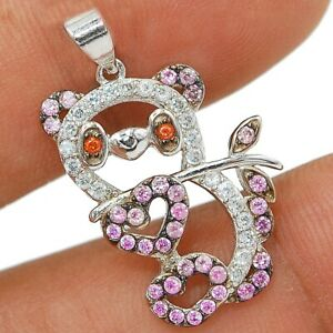 Panda 2CT Pink Sapphire & Topaz 925 Solid Sterling Silver Pendant Jewelry