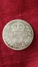 Queen Victoria 1891 Threepence .925 Sterling Silver Coin