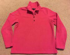 Lands' End Women's Pink Fleece 1/4 Button Pullover Sweater Sz M/P 10-12 Petite