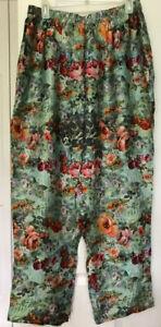 100% Silk Satin APNY Apparel Floral Pants w/ POCKETS & Elastic Waist Size S