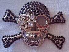 Belt Buckle - Skull & Crossbones - Silver with black & clear Rhinestone Bling