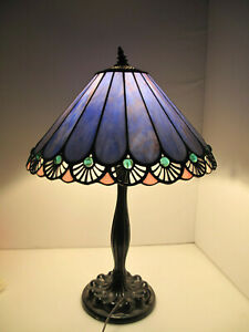 """Tiffany Style Mission Arts & Crafts Stained Glass 23"""" Table Desk Lamp 16"""" Shade"""