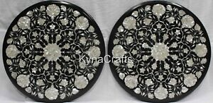 """Set of 2 Pieces Coffee Table Top Round Marble End Table with Floral Design 21"""""""