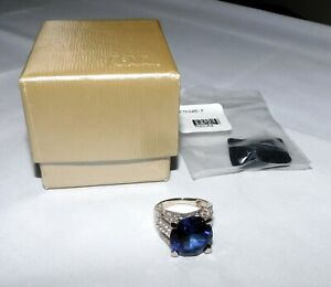 JTV Lab-Created Blue Sapphire & White Topaz Sterling Ring NEW Size 7 CTH165
