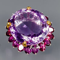 Amethyst Ring Silver 925 Sterling 25x21 mm. 40 ct+ Size 6 /R145139