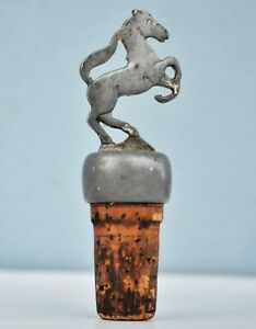 Vintage Pewter Figural Animal Horse Ferrari Bottle Stopper