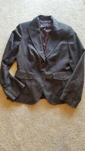 Women's Banana Republic Black and Deep Plum Wool Business Jacket Size 12