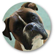 Oil Painted Style Boxer Portrait Sandstone Car Coasters - Matching Pair