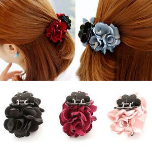 Bow Headwear Jaw Clip Chiffon Rose Flower Barrette Hairpins Hair Claw