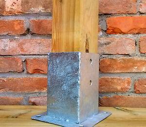 Staffa a bicchiere per fissaggio su cemento, portapilastro in acciaio zincato