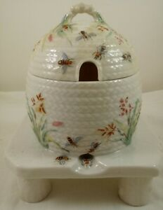 "Antique Belleek Beehive Honey Pot 3-legged stand with lid 6""  Black Mark"